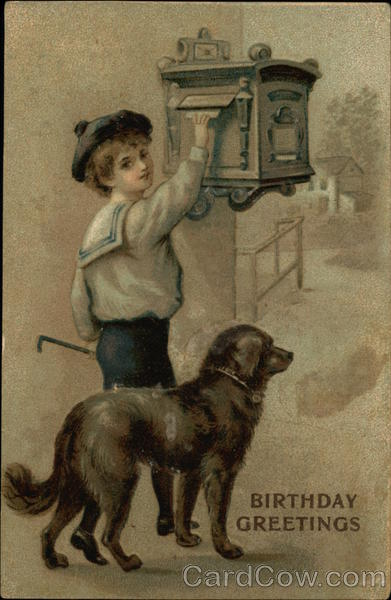 Birthday Greetings - Young Boy with Large Black Dog Mailing a Letter