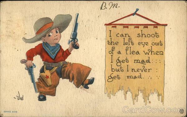 Child Cowboy holding 2 pistols Bernhardt Wall Cowboy Kids