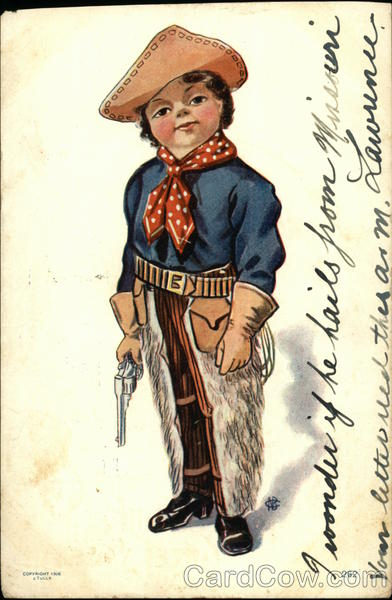 Little Boy Wearing Cowboy Gear and Holding a Gun Cowboy Western