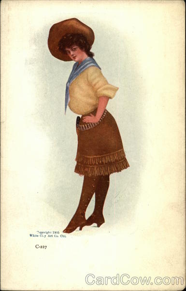 Cow Girl in Brown Skirt, Yellow Shirt and Wide-Brimmed Brown Hat