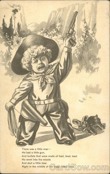 Drawing of boy dressed as cowboy, holding pistol Cowboy Kids