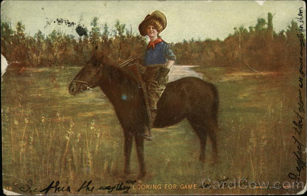 Looking for Game - Cowgirl with Rifle on Horseback