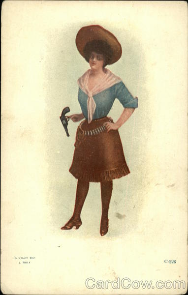Cowgirl wearing Holster, Fringed Skirt, Large Hat and Twirling Gun