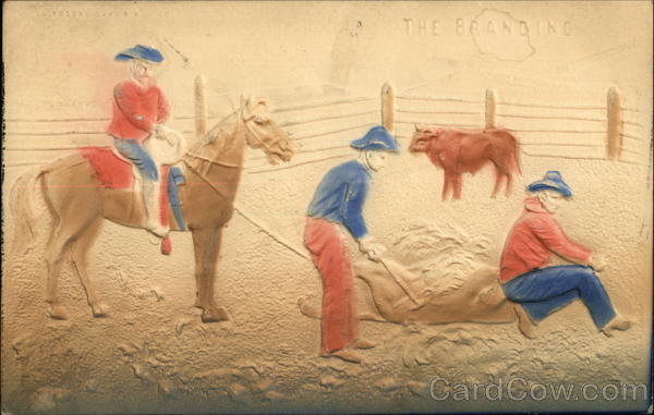 Three Cowboys Roping and Branding Cattle - Embossed