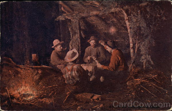 Four Cowboys Playing Cards Around the Campfire Cowboy Western
