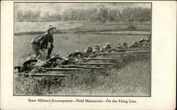 State Military Encampment - Field Maneuvers - On the Firing Line