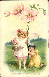 """Fond Birthday Wishes"" - Two Young Girls with Large Pink Flowers"