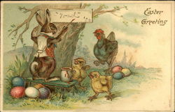 Easter Greeting with Bunny painting sign and Hen with Chicks looking on