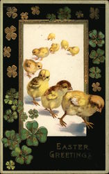 Easter Greetings - Baby Chicks and Clover