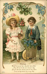 Two Children With Roses and Forget-me-nots