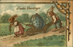 Easter Greetings - Clothed Bunnies moving Decorated Egg in Cart