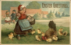 Dutch Girl With Eggs In Basket and Lots of Chicks