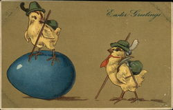 Easter Greetings - Two Chicks in Hiking Attire with Large Blue Egg