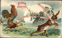 Easter Greeting - Rooseter and Hens Chasing Bunny Stealing Egg