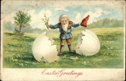 Easter Greetings - Gnome Hatched from Egg