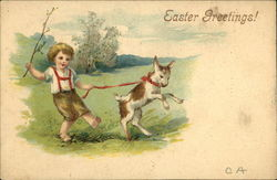Easter Greetings! - Young Boy walking Goat