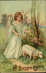 A Blessed Easter - Angel Holding Lilies and Walking Lamb