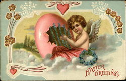 Easter Greetings - Angel Sitting on Cloud with Egg Shell, Hearts and Flowers