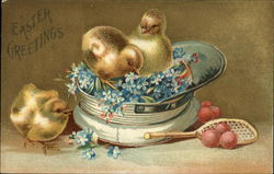 Easter Greetings - Three Chicks, Blue Flowers, Cap, Racquet and Balls