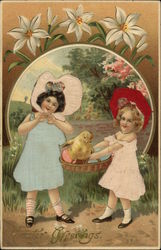 Easter Greetings - Two Girls in Large Bonnets Carrying Chick and Eggs