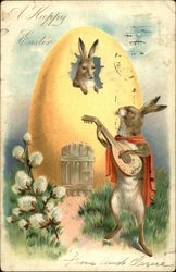 A Happy Easter - Bunny Playing Stringed Instrument in Seranade to Another