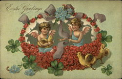 Easter Greetings - Two Cherubs, Flower Basket, Clover, and Baby Chicks