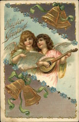Easter Greetings - Angels with Lyre, Gold Bells