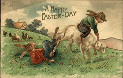 A Happy Easter Day - Bunnies Dressed in Coats & Pants Riding Lamb