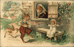 Easter Greetings with Three Clothed Bunnies and a Chick