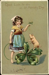 """Good Luck to you on St Patrick's Day"" - Peasant Girl, Shamrock, and Pig"
