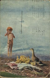 Naked Child Looking at Mother and Baby Ducks