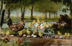 Happy Easter - Hen with Eggs and Chicks in Wheel Barrow
