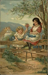 Two Girls Gathering Flowers At Fence