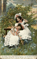Two Little Girls in White Ruffled Dresses Hold Orange Flowers and Sit on Bench