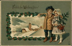Merry Christmas with Boy and Girl holding Tree, Snow Scene Framed in Holly