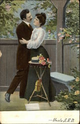 Couple At Garden Table