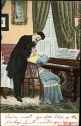 Man in Suit Hugging Woman in Blue Gown Seated at Piano