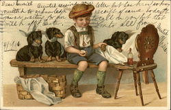 Boy Nursing Three Dogs