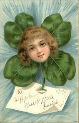 Face of Little Girl on Four-Leaf Clover