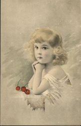 Portrait of Young Blonde Girl Posing with Red Cherries