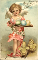 """Happy Easter-Tide"" - Cherub Holding Colorful Eggs, Baby Chicks at Feet"