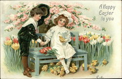 A Happy Easter to You - Boy and Girl on Bench among Flowers and Baby Chicks