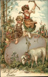 A Joyful Easter - Children with Flowers and Ribbons Playing near Lamb