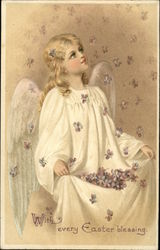 With Every Easter Blessing - Angel Catching Violet Blooms