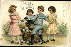 Easter Greeting - Children Dancing Around Hen and Eggs