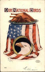 """Our National Birds"" - Cooked Turkey, American Flag, and Eagle"