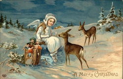 A Merry Christmas - Snow Angel with Toys and Two Deer