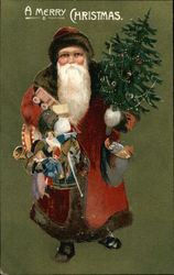 A Merry Christmas - Santa carrying Toys and Decorated Tree