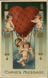 """Cupid's Message"" - Four Cherubs with Heart Shaped Balloon"