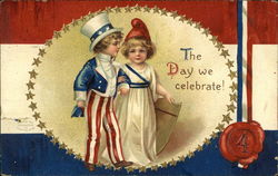 """The Day We Celebrate!"" - Patriotic Children, Gold Stars, Red White & Blue"